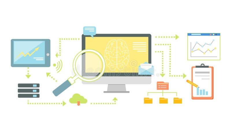 Smart Technology for SEO Analytics Icon Flat stock illustration