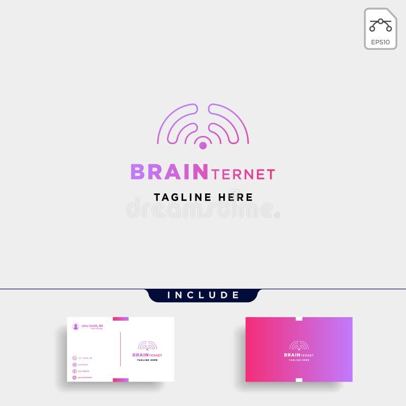 smart tecken för symbol för symbol för anslutning för wifi för hjärna för vektor för internetlogodesign royaltyfri illustrationer