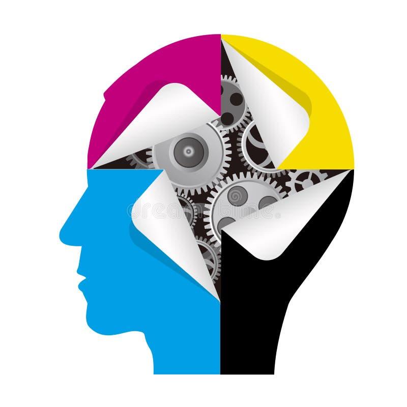Smart teknologi av färgutskrift, manligt huvud royaltyfri illustrationer