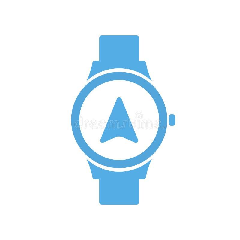 Smart teknologi för begreppsnavigering, smartwatch, klockasymbol stock illustrationer