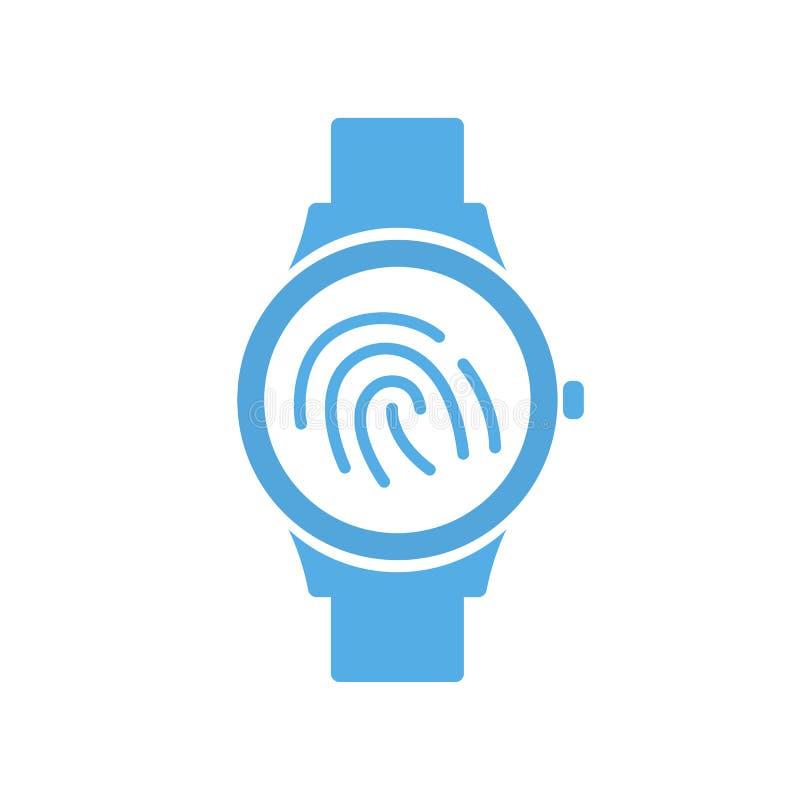 Smart teknologi för fingerID-tryck, smartwatch, handlagklockasymbol vektor illustrationer