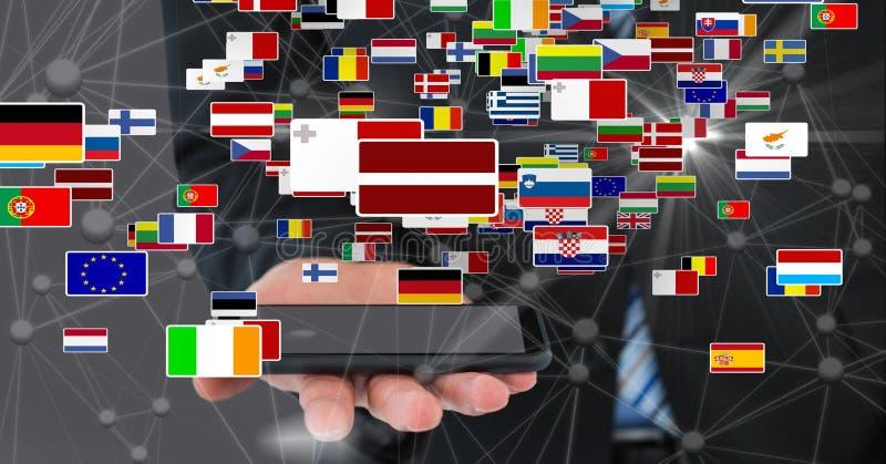 Smart telefon för affärsmaninnehav med olika flaggor och förbindande prickar arkivbild