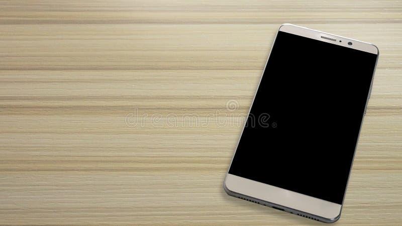 Smart telefon för bild på den vita trätabellen royaltyfri foto