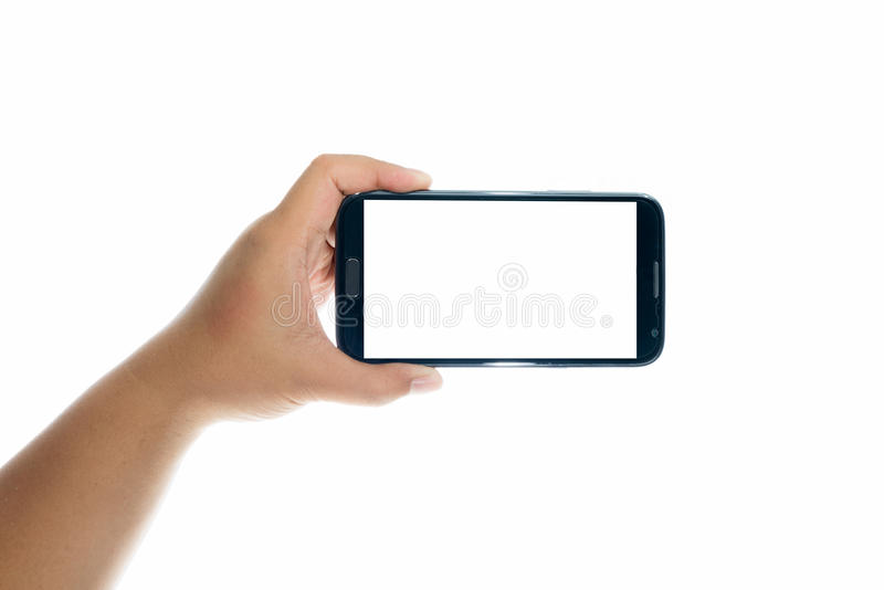 Smart telefon för handinnehav arkivbilder