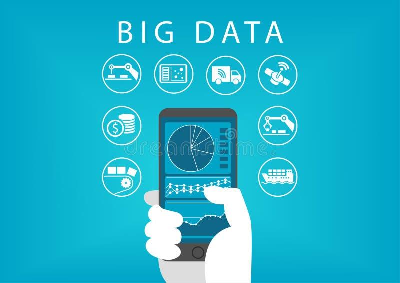 Smart telefon för handinnehav med den mobila instrumentbrädan för dataanalys för stora data Begrepp av olika affärer stock illustrationer