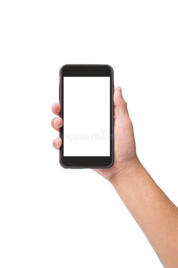Smart telefon för handinnehav med pekskärmen som isoleras på vit royaltyfria bilder