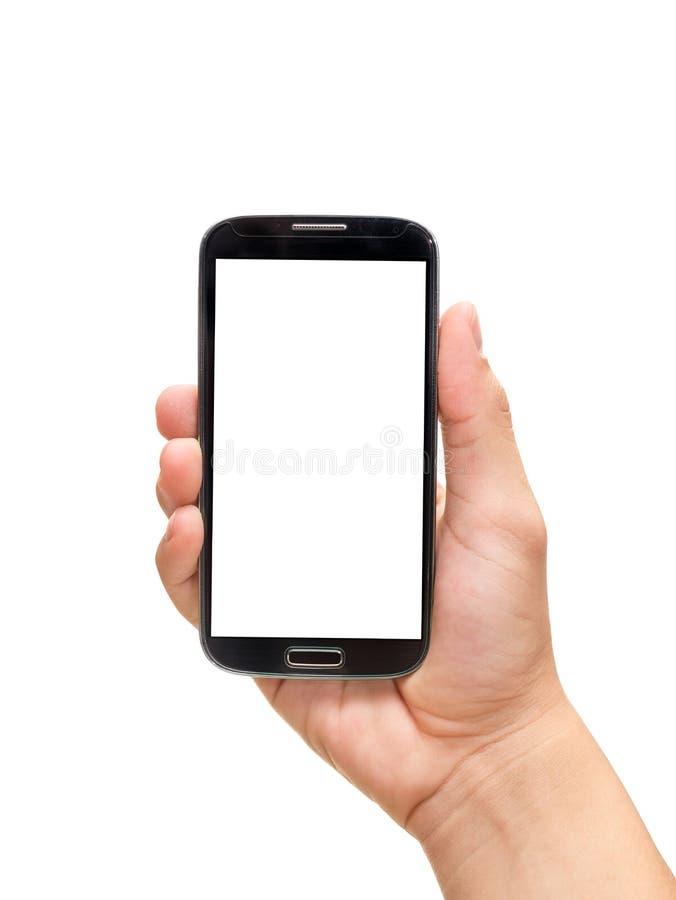 Smart telefon för handinnehav (mobiltelefonen) royaltyfri bild
