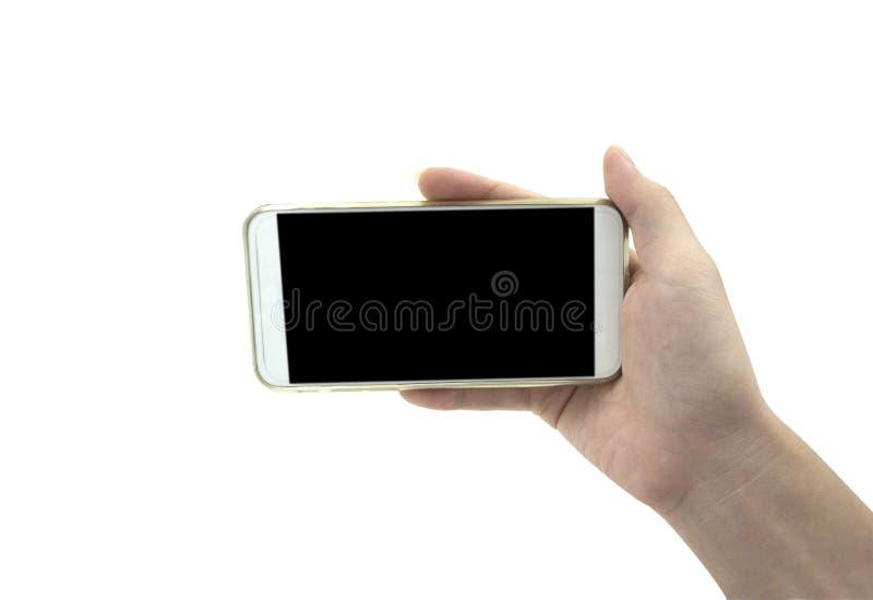 Smart telefon för handinnehav som isoleras över vit bakgrund - modell royaltyfri foto
