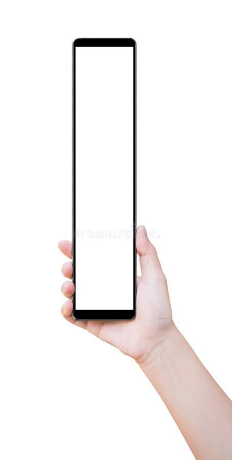 Smart telefon för handinnehav som isoleras på vit royaltyfri fotografi