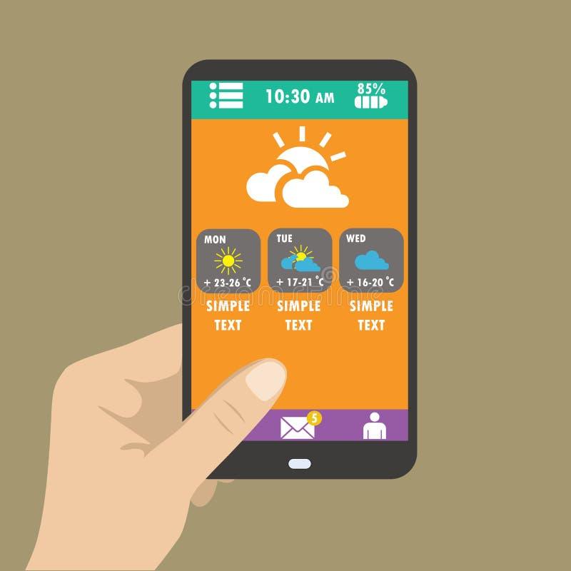 Smart telefon för handinnehav, vädersymboler för rengöringsduk och mobil stock illustrationer