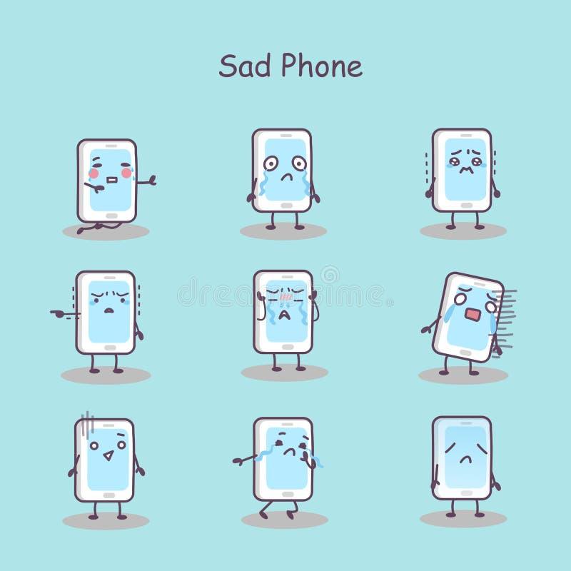 Smart telefon för ledsen tecknad film vektor illustrationer
