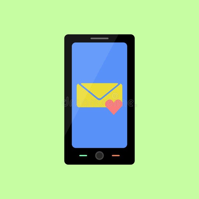 Smart telefon för plan stil med förälskelsemeddelandet stock illustrationer
