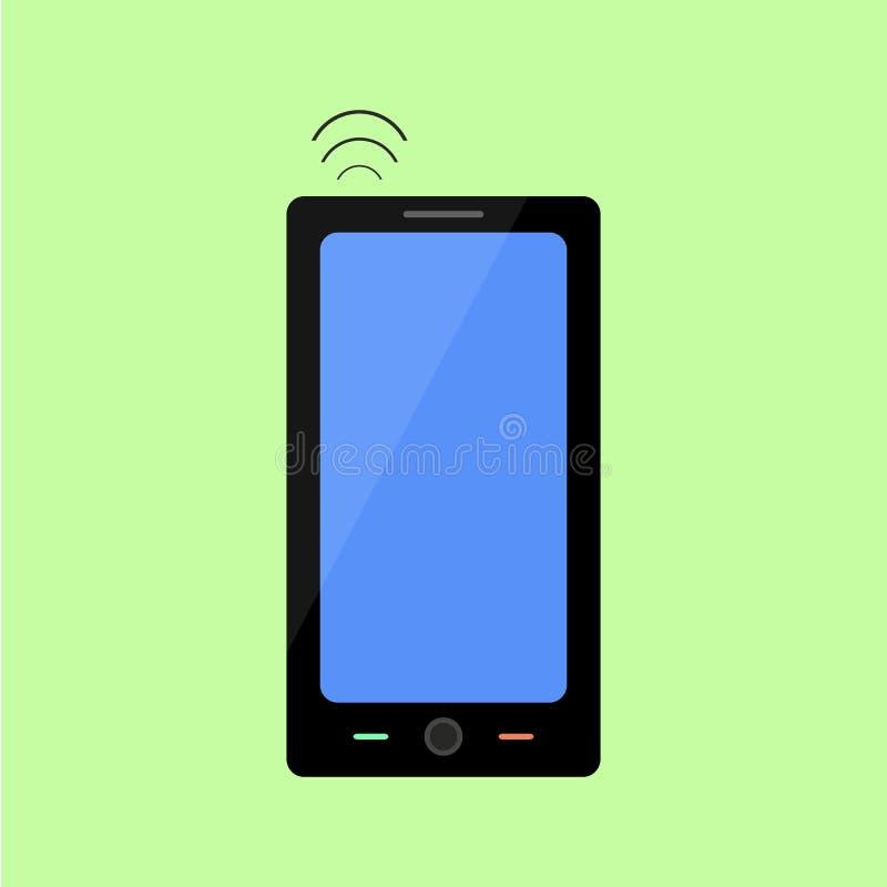Smart telefon för plan stil med trådlös anslutning vektor illustrationer