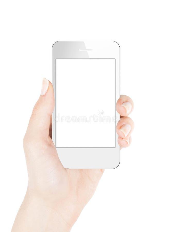 Smart telefon i kvinnlig hand royaltyfri foto