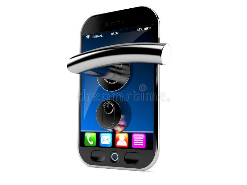 Smart telefon med dörrhandtaget royaltyfri illustrationer