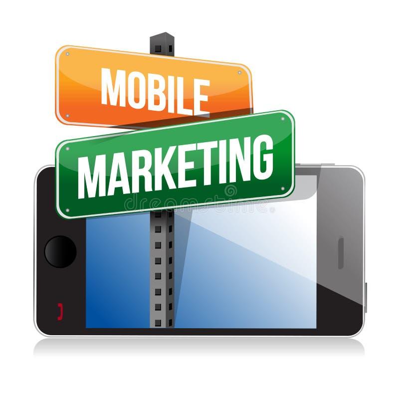 Smart telefon med det mobila marknadsföringstecknet vektor illustrationer