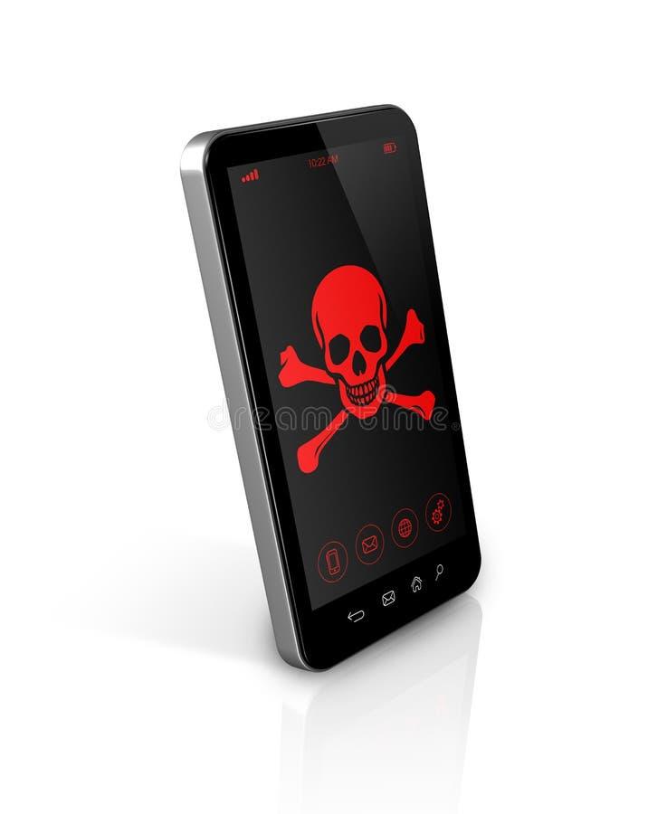 Smart telefon med ett piratkopierasymbol på skärmen Isolerat på framförd white stock illustrationer