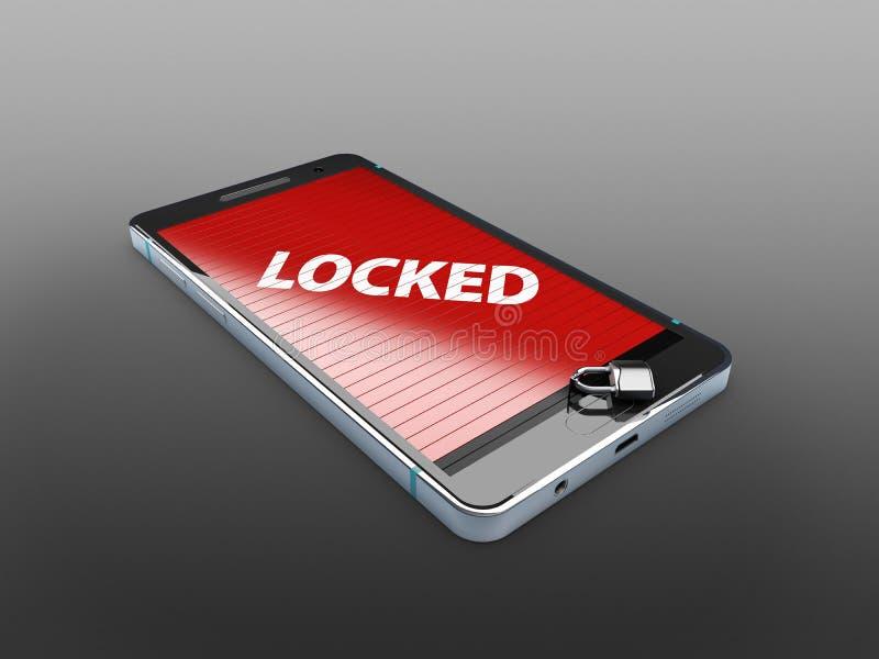 Smart telefon med låset, abstrakt bakgrund för lösningen till illustrationen för säkerhetssmartphone 3d stock illustrationer