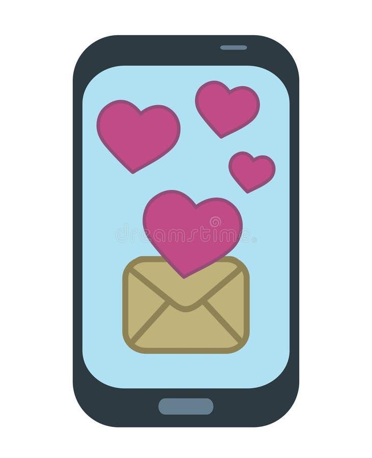 Smart telefon med mejltextmeddelandet som överför gullig röd hjärta på s vektor illustrationer