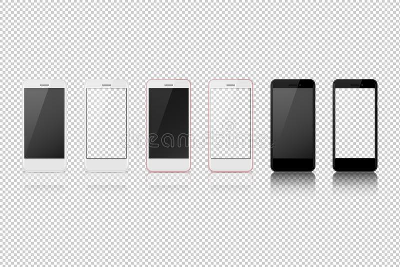 Smart telefon med olik färg, vitmellanrum på den genomskinliga skärmen vektor illustrationer