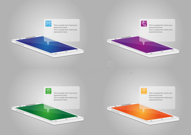 Smart telefon med symboler vektor illustrationer