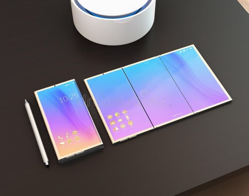 Smart telefon, minnestavlaPC, digitalt penntangentbord på den mörka wood tabellen royaltyfri illustrationer