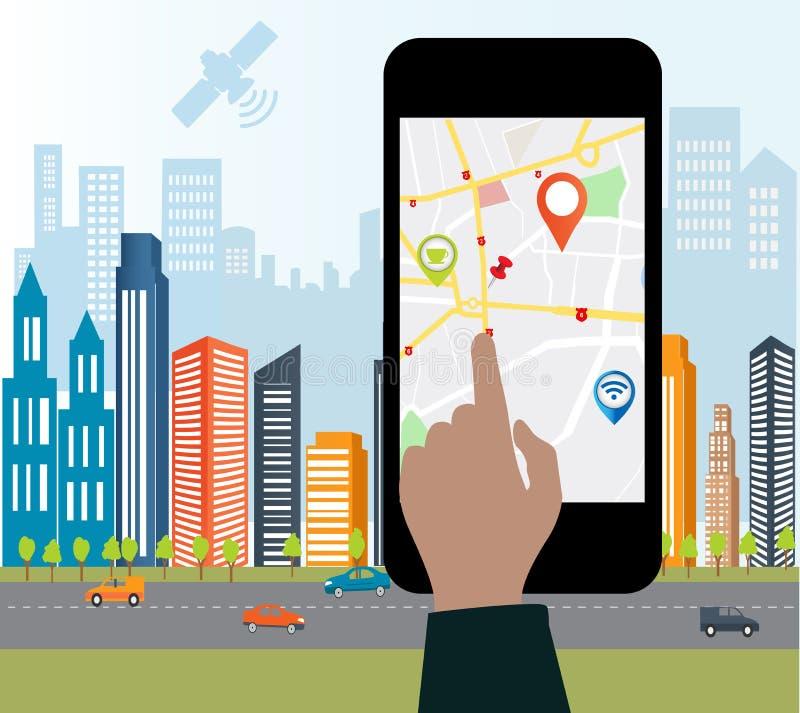 Smart-Telefon mit beweglicher Navigation vektor abbildung