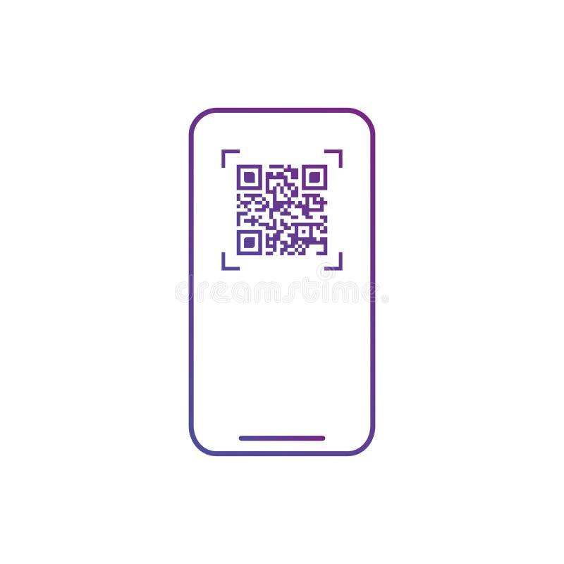Smart telefon som avläser bildläsning för Barcode för Qr kodsymbol med telefonen Vektorillustration som isoleras på vit bakgrund vektor illustrationer