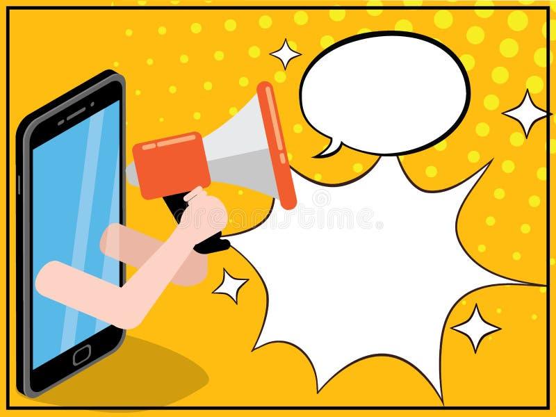Smart telefon som rymmer en megafon royaltyfri illustrationer