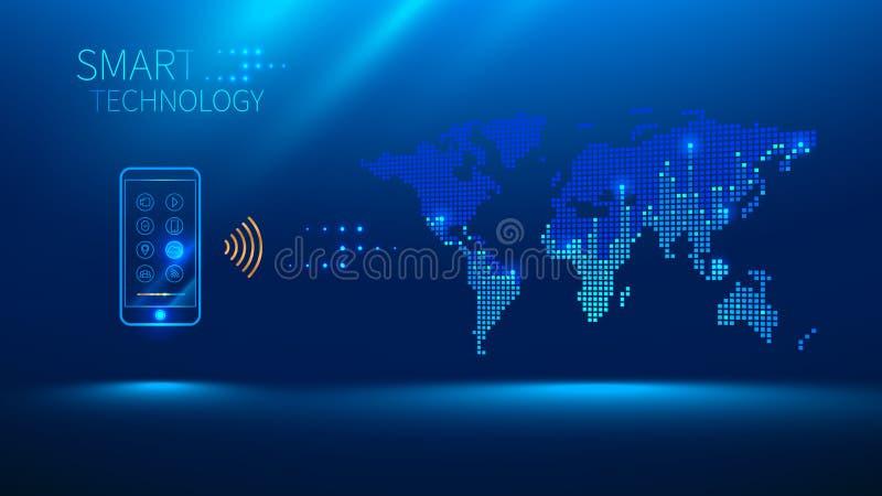 Smart telefon som ska förbindas med världen royaltyfri illustrationer