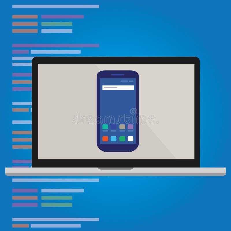 Smart-telefone do emulador na programação de aplicativo do móbil da tela de laptop ilustração do vetor