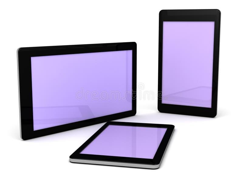 Smart telefoner och elektroniska grejer för minnestavlor stock illustrationer