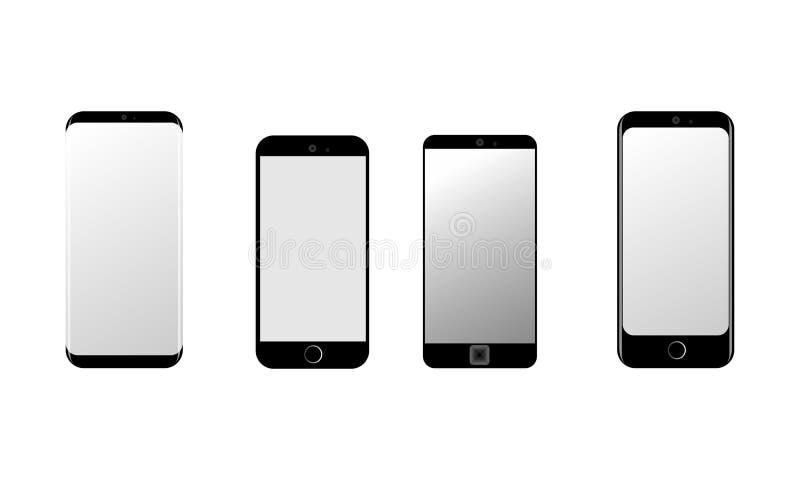 Smart telefoner som isoleras p? vit bakgrund ocks? vektor f?r coreldrawillustration vektor illustrationer