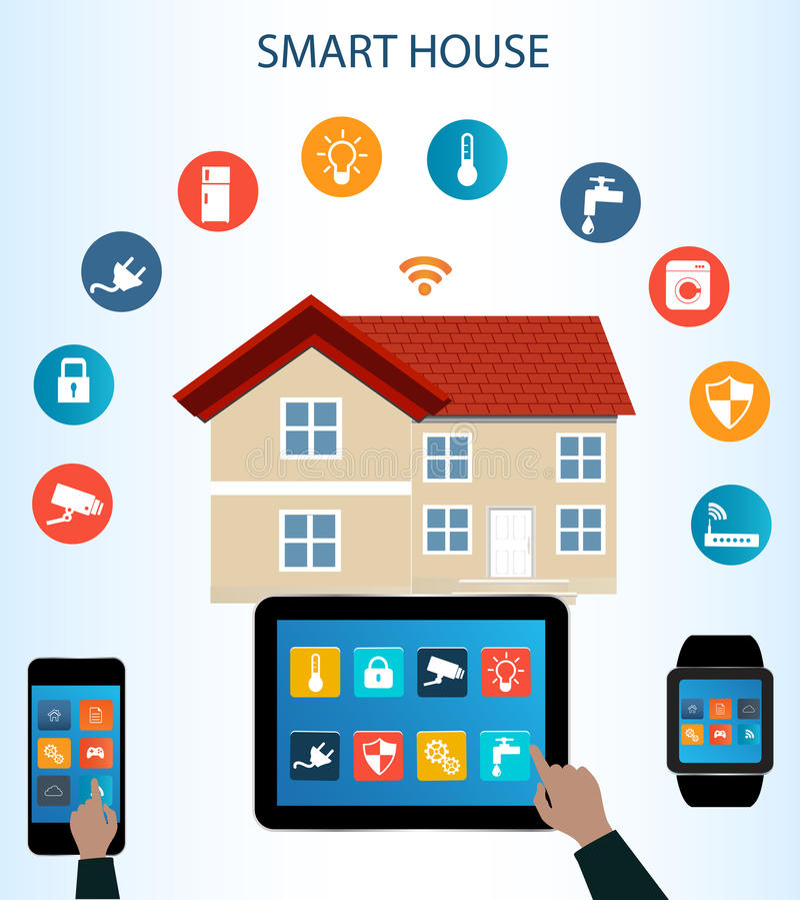 Smart telefonminnestavla Smartwatch och internet av sakerbegreppet stock illustrationer