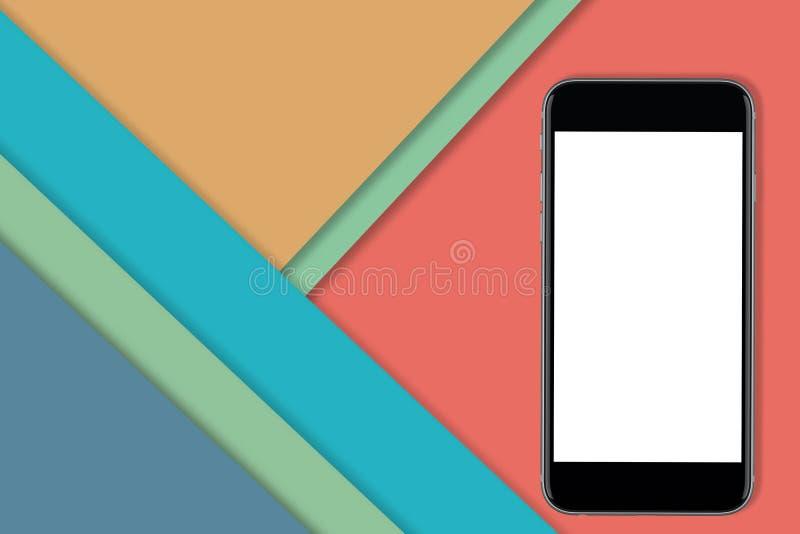 Smart telefonmodell på materiell designbakgrund stock illustrationer