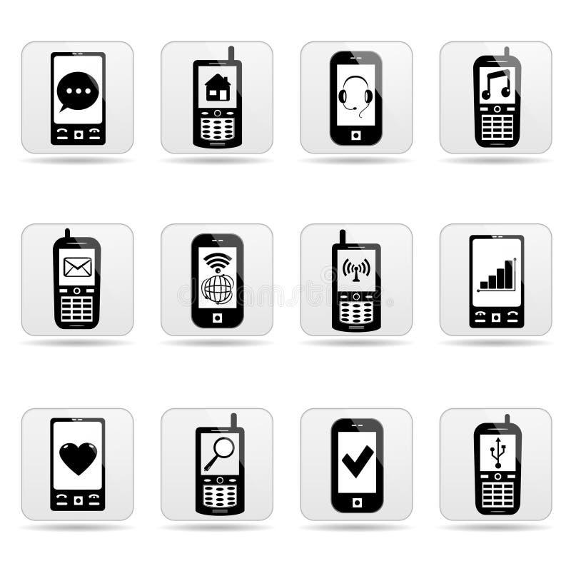 Smart-Telefonnetzknöpfe mit Zeichen auf Schirmen. vektor abbildung