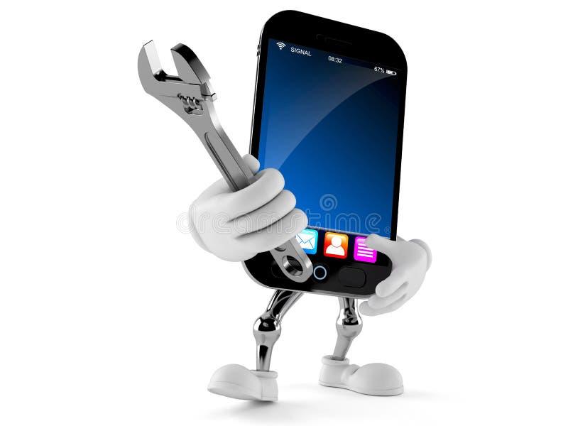 Smart telefontecken som rymmer den justerbara skiftnyckeln vektor illustrationer