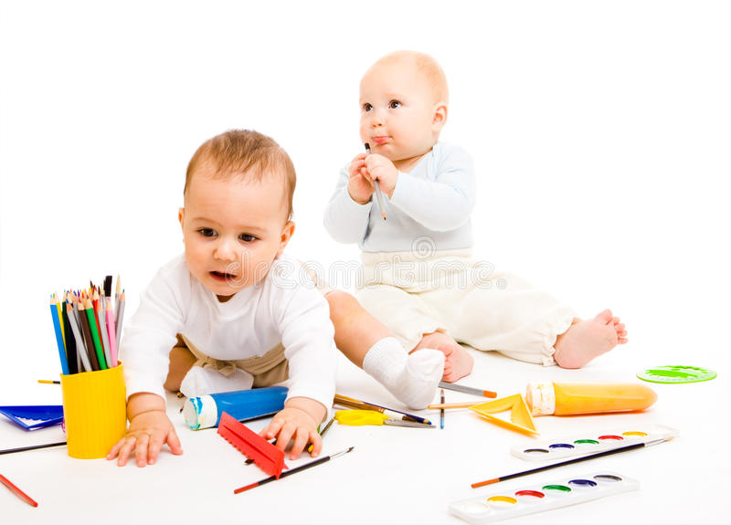 Download Smart toddlers stock photo. Image of adorable, paints - 16719362