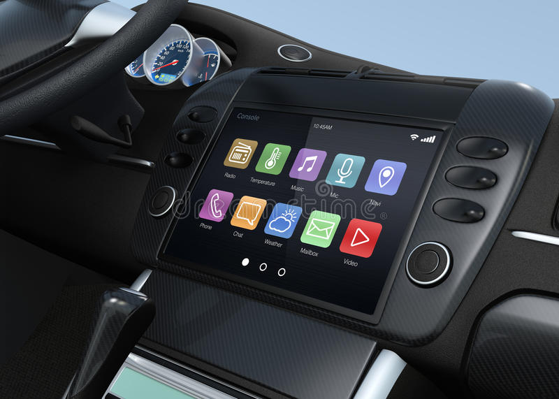 Smart touch screen multimedia system for automobile royalty free stock photography