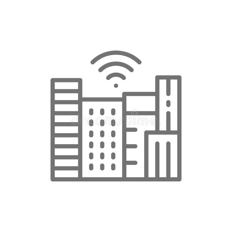 Smart town with Wi-Fi zone, technology city line icon. royalty free illustration