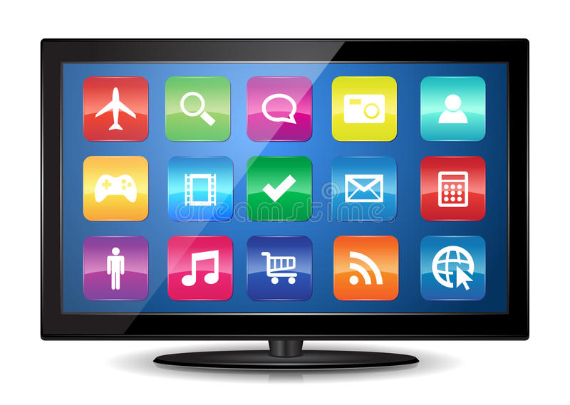 Download Smart TV stock vector. Image of electronic, broadcasting - 28061320