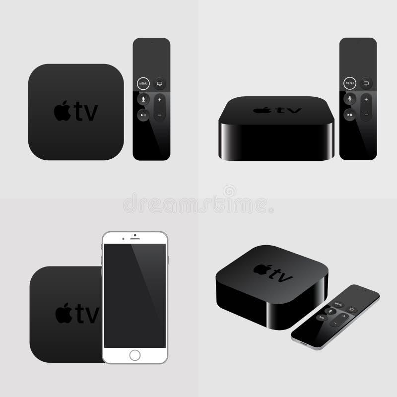 Smart TV avec l'extérieur et le smartphone, télévision moderne d'airplay illustration de vecteur