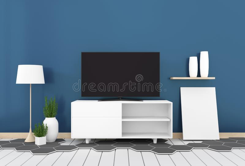 Smart Tv with blank black screen hanging on cabinet design, modern living room with dark blue wall on hexagon tile and white. Mock up Smart Tv with blank black royalty free illustration