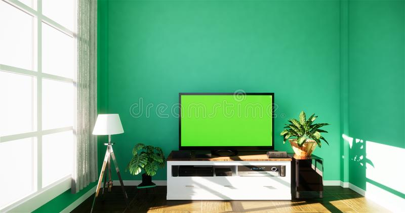 Smart Tv with blank black screen hanging on cabinet design, modern living room with mint wall on white wooden floor. 3d rendering. Smart Tv with blank black royalty free illustration