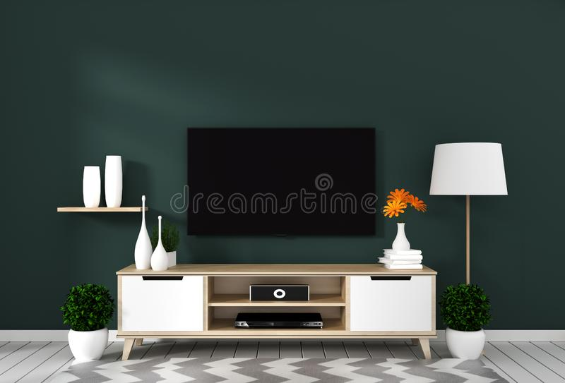 Mock up Smart Tv with blank screen hanging on the wall dark green on white wooden floor mockup. 3d rendering. Smart Tv with blank screen hanging on the wall dark stock illustration