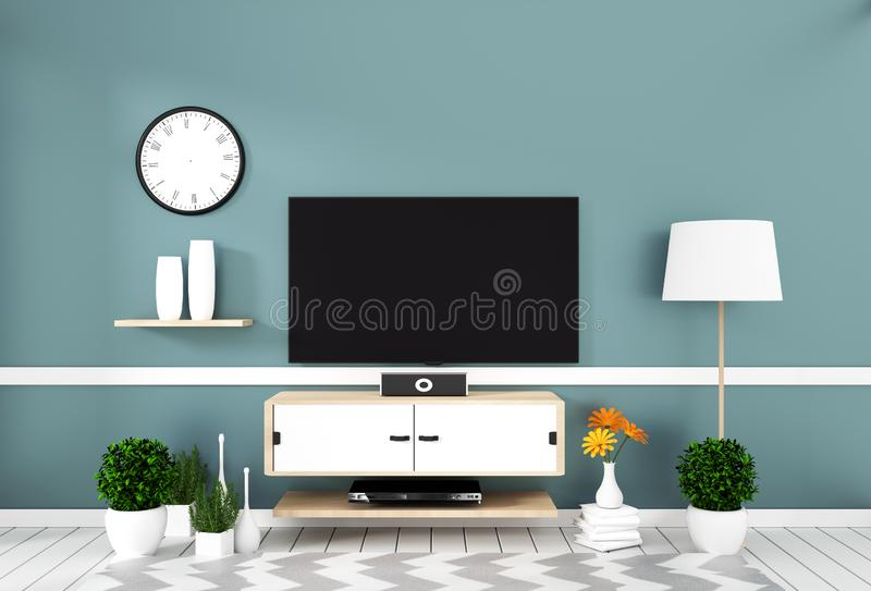 Mock up Smart Tv with blank screen hanging on the wall mint on white wooden floor mockup. 3d rendering. Smart Tv with blank screen hanging on the wall mint on royalty free illustration
