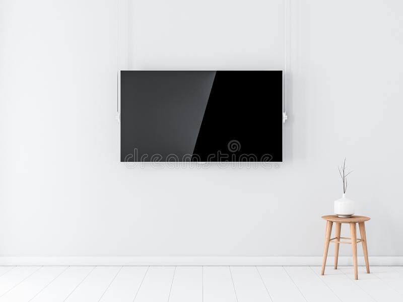 Smart Tv with blank screen Mockup on white wall in empty interior. 3d rendering stock illustration