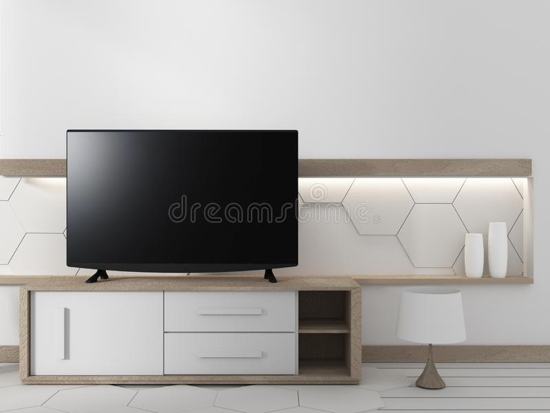 Smart TV on the cabinet in japanese living room with plants on hexagonal wall design background,3d rendering. Mock up Smart TV on the cabinet in japanese living vector illustration