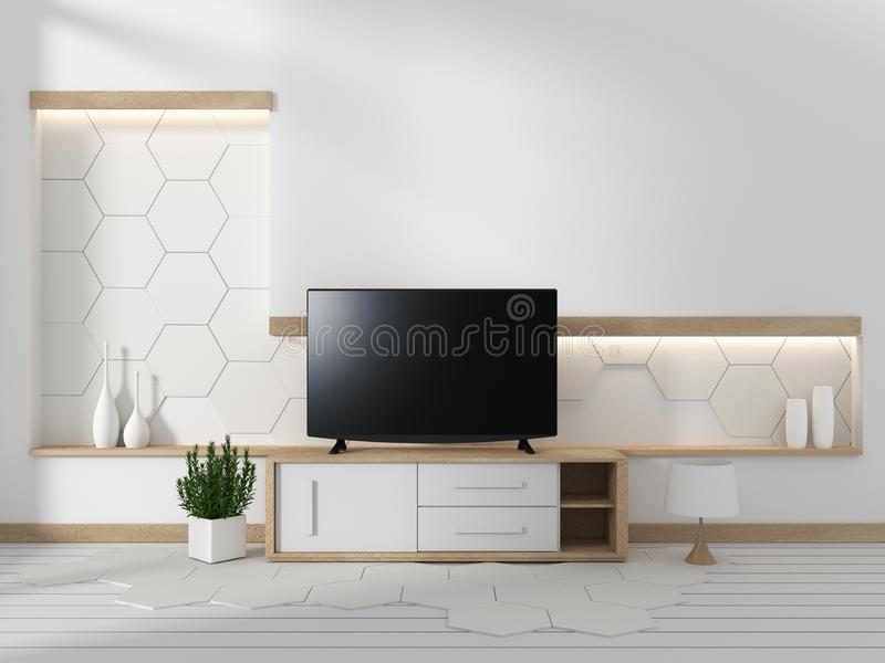 Mock up Smart TV on the cabinet in japanese living room with plants on hexagonal wall design background,3d rendering. Smart TV on the cabinet in japanese living royalty free illustration