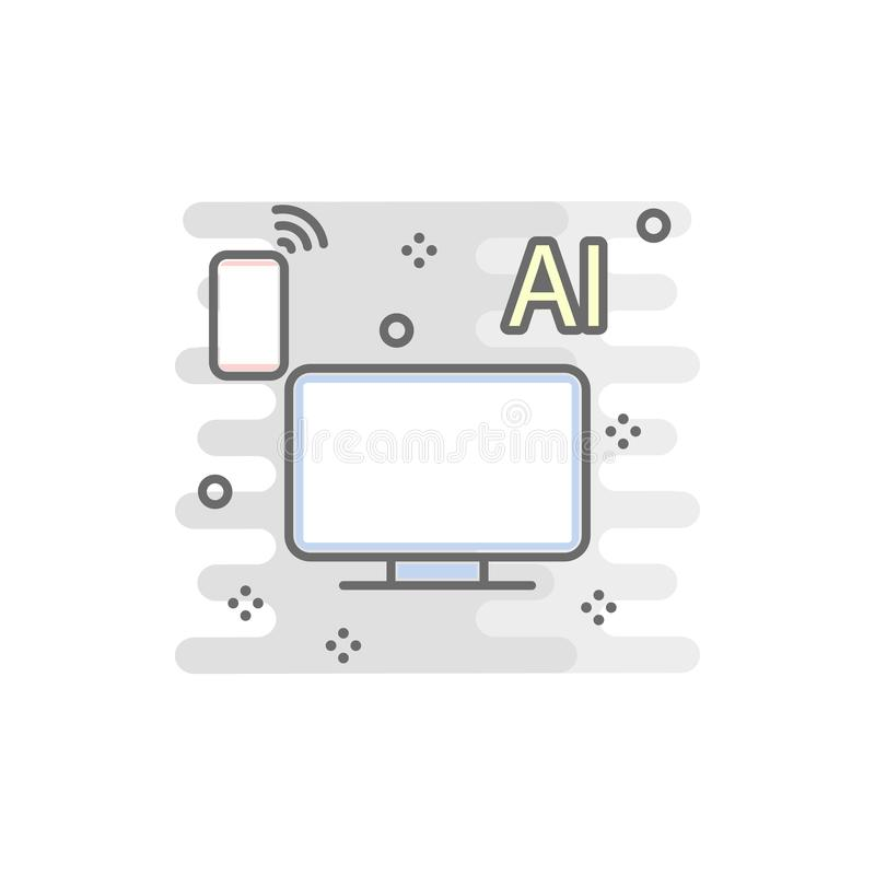 Smart TV colored icon. Element of colored smart technology icon for mobile concept and web apps. Color smart TV icon can be used f. Or web and mobile on white royalty free illustration